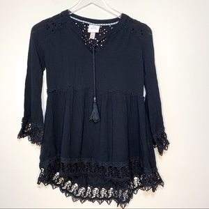 Knox Rose | Black Shirt With Lace Bottom | XS
